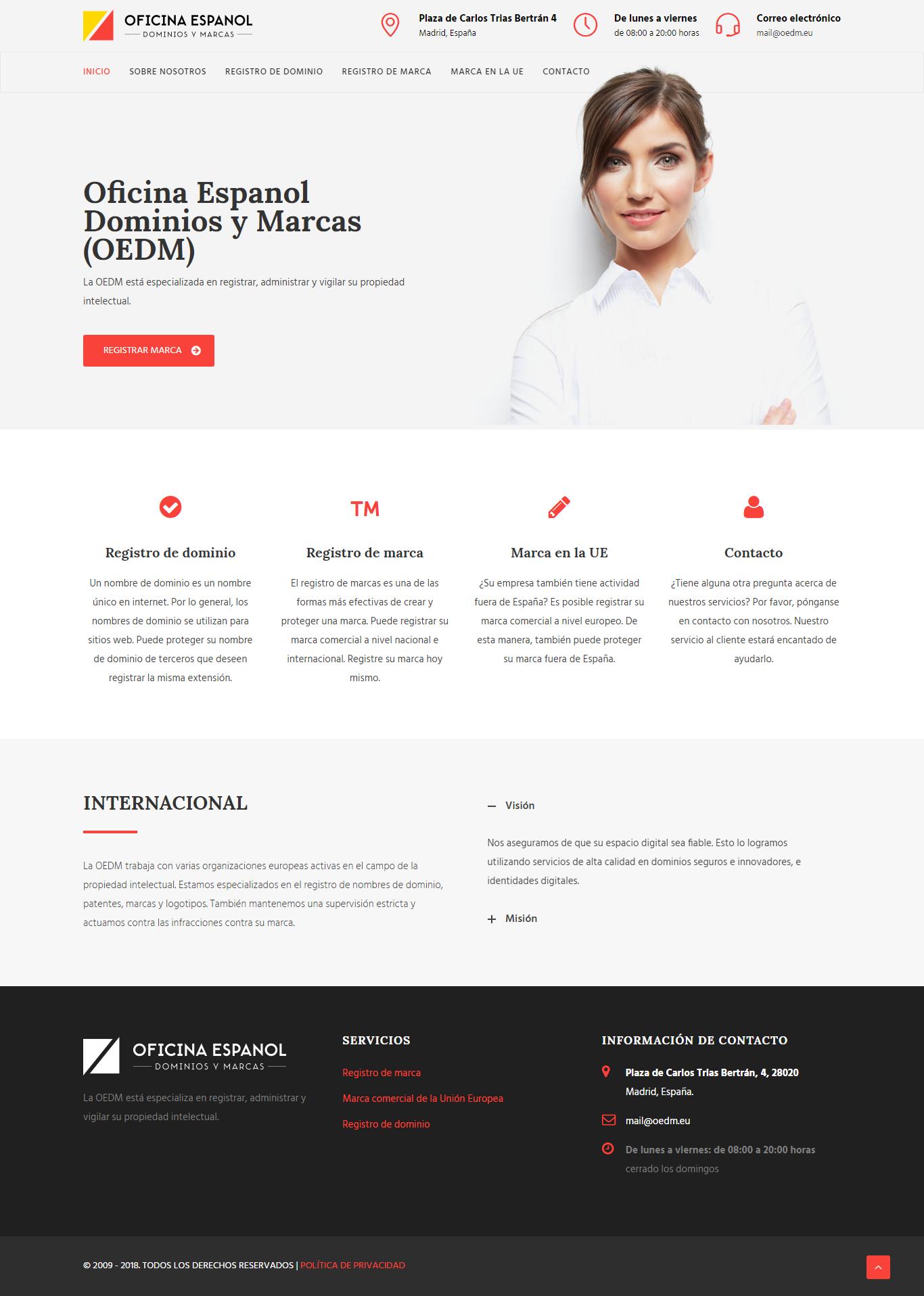Captura de la web de la Ciberestafa marcas y dominios